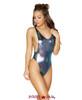 Rave Low Cut Bodysuit | Roma R-3549 Color Iridescent Blue