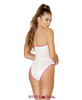 Rave Sequin Bodysuit | Roma R- 3569 Color white back view