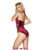 Roma | R- 3578, Rave Velvet Side Strap Bodysuit Color burgundy back view
