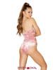 Roma | R- 3578, Rave Velvet Side Strap Bodysuit Color pink back view