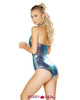 Rave Cut out Romper Color blue back view by Roma | R- 3560
