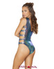 Roma | R-3561, Strappy and Lace-up Romper Color blue back view
