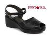 Bettie Page | BP242-Niley, Peep Toe Wedge Sandal color black