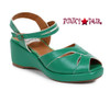 Bettie Page | BP242-Niley, Peep Toe Wedge Sandal color green