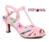 Pink BP300-Layla, 3 Inch Peep Toe T-Strap Sandal