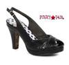 BP401-Selene, 4 Inch Ruched Peep Toe Sandal color black