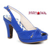 Bettie Page | BP401-Selene, Ruched Peep Toe Sandal color blue