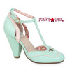 BP403-Annalise, 4 Inch Chunky Heel T-Strap Sandal color mine/teal