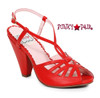 Red BP403-Aria, 4 Inch Chunky Heel Keyhole Ankle Strap Sandal