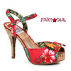 BP412-Leni, 4 Inch Cork Heel Sandal with Floral Print