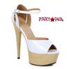 White 609-Billie, 6 Inch High Heel Peep Toe Wood Platform Sandal