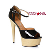 Black 609-Billie, 6 Inch High Heel Peep Toe Wood Platform Sandal