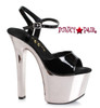 Chrome Heels 711-Christy, 7 Inch Chrome Platform Ankle Strap Sandal