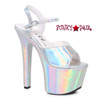 Stipper Heels by Ellie Shoes 711-Lola, 7 Inch High Heel with Metallic Platform Sandal Color Silver