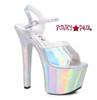 Stipper Heels by Ellie Shoes 711-Lola, 7 Inch High Heel with Metallic Platform Sandal Color Silver