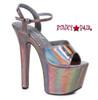 Stipper Heels by Ellie Shoes 711-Lola, 7 Inch High Heel with Metallic Platform Sandal Color Pewter