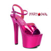 Stipper Heels by Ellie Shoes 711-Lola, 7 Inch High Heel with Metallic Platform Sandal Color Fuchsia