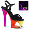 Moon-709UV, Cutout Platform Sandal with UV Reactive  Color Blk Pat/Neon Multi