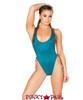 J. Valentine | Faux Suede Bodysuit Rave Wear JV-FF190 color teal