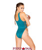 J. Valentine | Faux Suede Bodysuit Rave Wear JV-FF190 color teal back view
