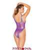 J. Valentine | Coated Mesh Bodysuit Rave Wear JV-FF133 color purple back view