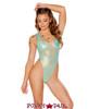 J. Valentine | Coated Mesh Bodysuit Rave Wear JV-FF133 color aqua