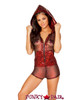 J Valentine | Mesh Hooded Romper Rave Wear JV-FF179 Color Black/Red Fishnet