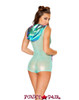 J Valentine | Mesh Hooded Romper Rave Wear JV-FF179 Color Mint/Aqua Mesh back view