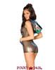 J Valentine | Mesh Hooded Romper Rave Wear JV-FF179 Color Black Opal Mesh Back View
