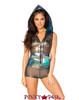 J Valentine | Mesh Hooded Romper Rave Wear JV-FF179 Color Black Opal Mesh