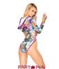 J Valentine   Hooded Long Sleeve Bodysuit Rave Wear JV-FF126 Color Stoned / Raspberry back view