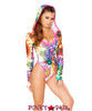 J Valentine | Hooded Long Sleeve Bodysuit Rave Wear JV-FF126 Color Mystic / Hot Pink