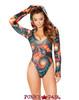 J Valentine   Hooded Long Sleeve Bodysuit Rave Wear JV-FF126 Color Twisted / Black Opal