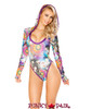 J Valentine | Hooded Long Sleeve Bodysuit Rave Wear JV-FF126 Color Stoned / Raspberry