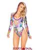 J Valentine   Hooded Long Sleeve Bodysuit Rave Wear JV-FF126 Color Stoned / Raspberry