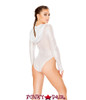 J Valentine | Hooded Mesh Long Sleeve Bodysuit Rave Wear JV-FF125 color silver back view