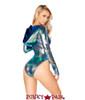 J Valentine | Holographic Bodysuit Rave Wear JV-FF124 color black opal back view