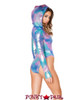 J Valentine | Holographic Bodysuit Rave Wear JV-FF124 color cotton kandi side view