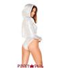 J Valentine   Long Sleeved Hooded Bodysuit Rave Wear JV-FF127 Color Silver side view