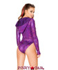 J Valentine | Long Sleeved Hooded Bodysuit Rave Wear JV-FF127 Color Raspberry back view