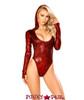 J Valentine   Long Sleeved Hooded Bodysuit Rave Wear JV-FF127 Color red front view