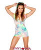 JV-FF185 | Velvet hooded romper Color Pastel Tie-Dye . Fabric: 85% Nylon 15% Spandex | Rave Wear Brand J Valentine Made in The USA