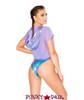 JV-FF163 | Mesh/metallic hooded crop top Color Lavender Shimmer  back view| Rave Wear Brand J Valentine Made in The USA