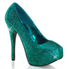 Bordello | Teeze-06R, Platform Rhinestones Pump Color Turquoise