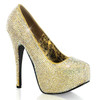 Bordello | Teeze-06R, Platform Rhinestones Pump Color Gold