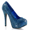 Bordello | Teeze-06R, Platform Rhinestones Pump Color Blue