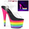 Pleaser | Adore-708UVRB, Rainbow Striped Platform Sandal | FunkyPair