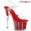 Pleaser | Adore-708GTG, Trucker Girl Platform Sandal with Glitter color red