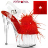 Pleaser | Adore-708MF, Ankle Strap Marabou Platform Sandal color red