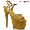 Pleaser | Adore-709-2G, Glitter Platform Sandal Color gold